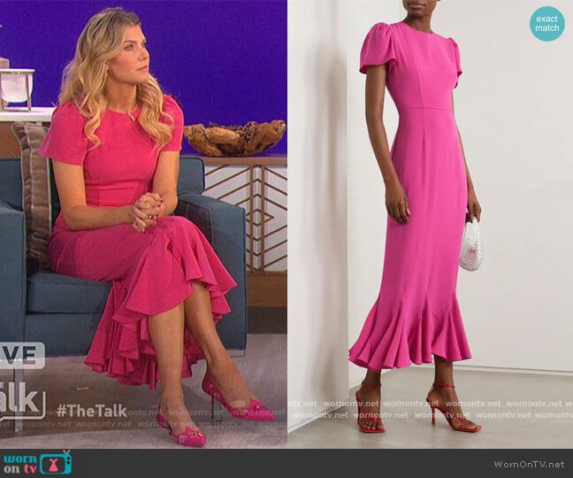 Lulani ruffled crepe midi dress by Rhode worn by Amanda Kloots  on The Talk