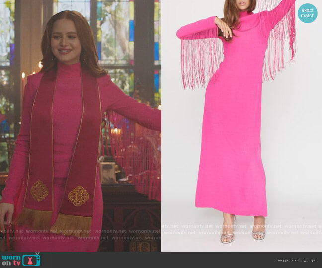 Reba Fringe Trimmed Dress by Rotate worn by Cheryl Blossom (Madelaine Petsch) on Riverdale