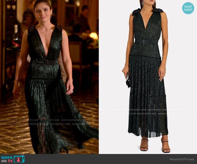 Sabina Musayev Ray Plissé Lurex Maxi Dress worn by Dani Nunez (Arienne Mandi) on The L Word Generation Q
