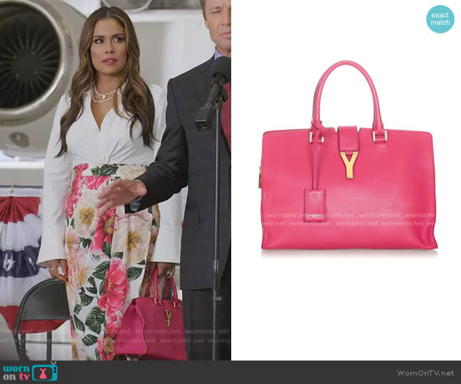 Cabas Chyc Tote Bag by Saint Laurent worn by Cristal Jennings (Daniella Alonso) on Dynasty
