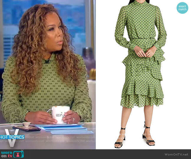 Isa Ruffle Dress by Saloni worn by Sunny Hostin  on The View