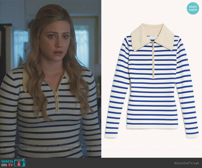 Sailor-striped wool sweater by Sandro worn by Betty Cooper (Lili Reinhart) on Riverdale