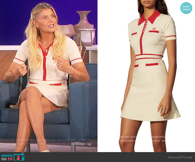 Tipped Short Sleeve Fit & Flare Knit Dress by Sandro worn by Amanda Kloots  on The Talk