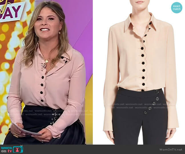 Scalloped Silk Blouse by Chloe worn by Jenna Bush Hager  on Today