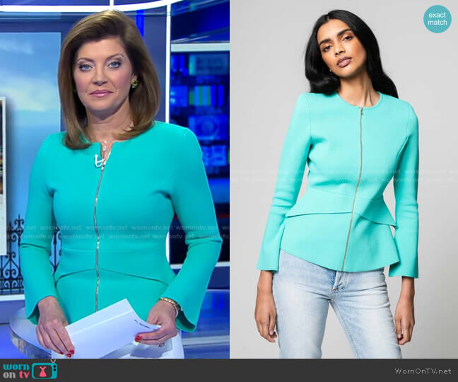 Crepe Knit Tailored Peplum Jacket by Scanlan Theodore worn by Norah O'Donnell  on CBS Evening News