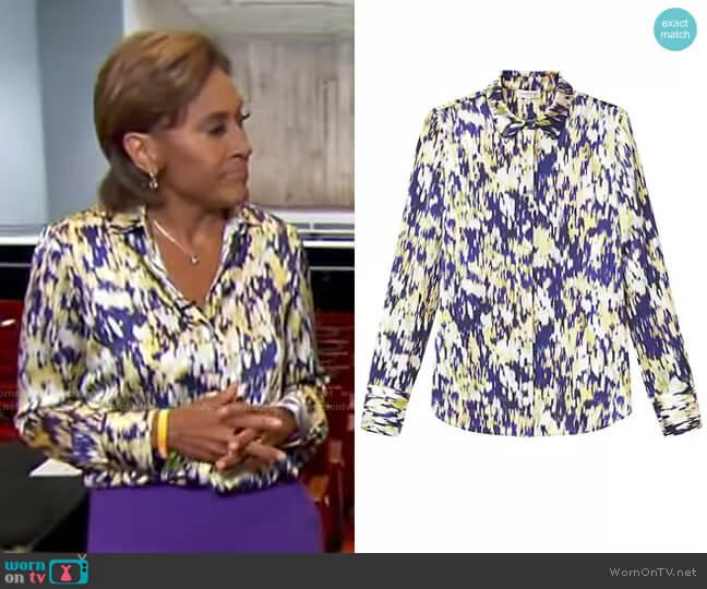Scottie Autumn Haze Silk Blouse by Lafayette 148 New York worn by Robin Roberts  on Good Morning America