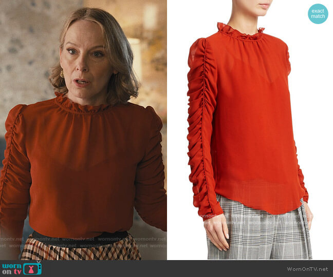 Ruched Georgette Blouse by See by Chloe worn by Amy Ryan on Only Murders in the Buildings