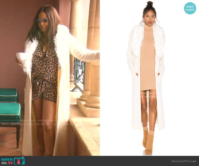 Lombardi Faux Fur Long Cardigan by Show Me Your Mumu  worn by Garcelle Beauvais  on The Real Housewives of Beverly Hills