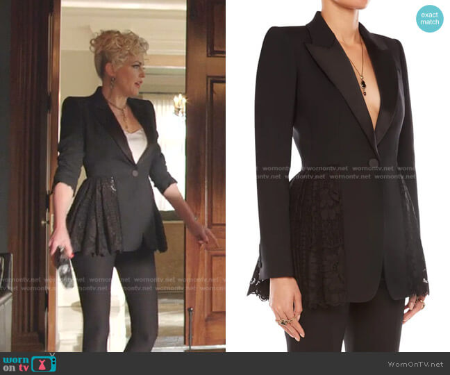 Single-Breasted Lace-Peplum Blazer by Alexander McQueen worn by Alexis Carrington (Elaine Hendrix) on Dynasty