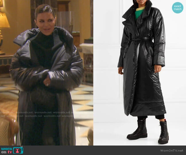Sleeping Bag oversized shell coat by Norma Kamali worn by Lisa Rinna  on The Real Housewives of Beverly Hills