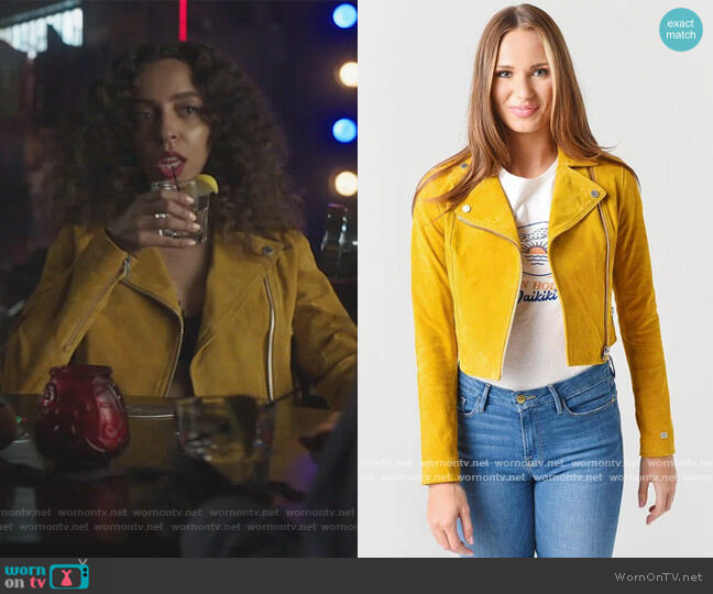 Elaine Cropped Suede Jacket by Soia & Kyo worn by Valerie Brown (Hayley Law) on Riverdale