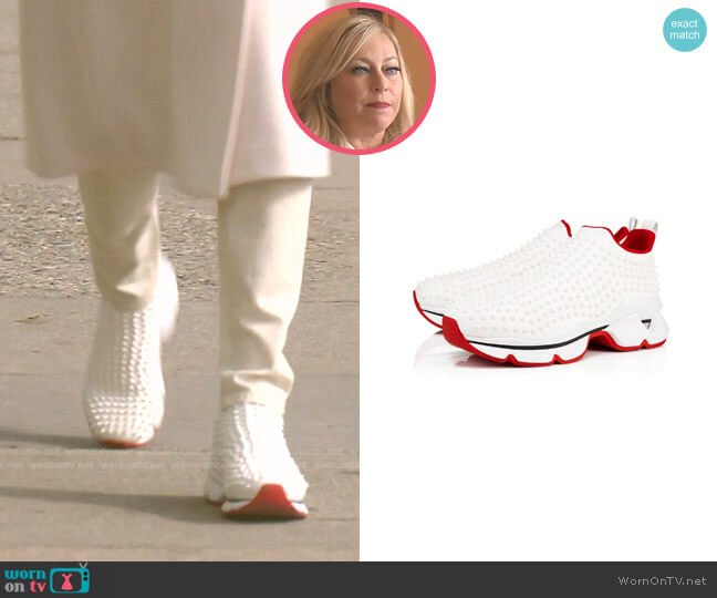 Spike Sock sneakers by Christian Louboutin worn by Sutton Stracke  on The Real Housewives of Beverly Hills