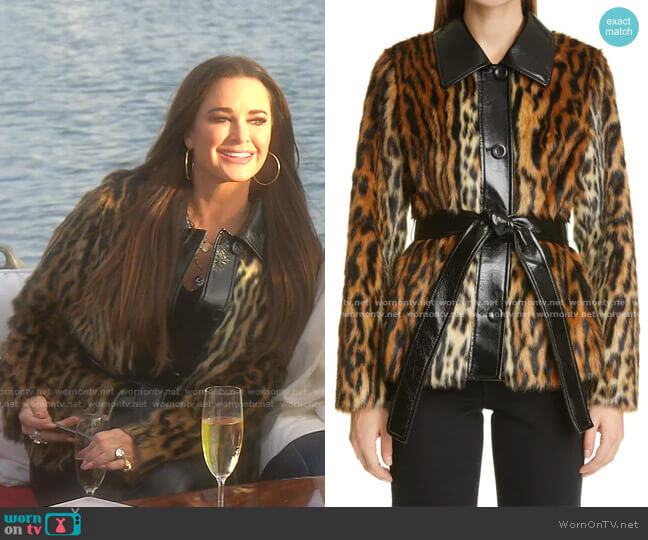 Cora Ocelot Print Faux Fur Jacket by Stand Studio worn by Kyle Richards  on The Real Housewives of Beverly Hills
