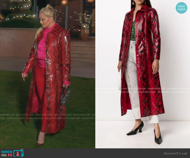 Mollie Snakeskin-Print Coat by Stand Studio worn by Erika Jayne  on The Real Housewives of Beverly Hills