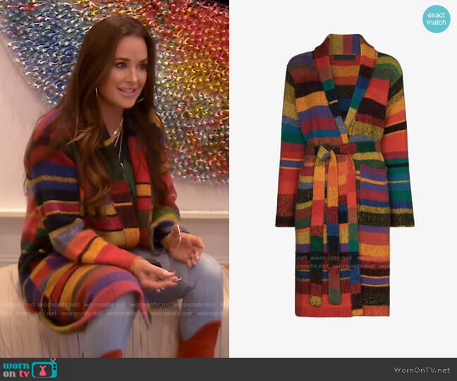 Striped Belted Cardigan by The Elder Statesman worn by Kyle Richards  on The Real Housewives of Beverly Hills