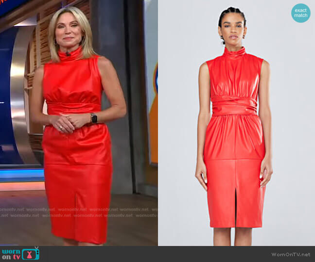 Turtleneck Faux Leather Dress - Gabrielle Union Collection by New York & Company worn by Amy Robach  on Good Morning America