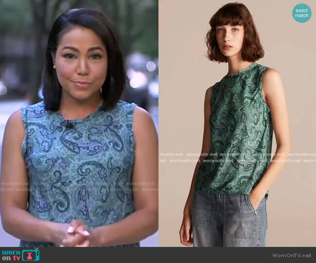 Tailored Margaux Paisley Sleeveless Top by Rebecca Taylor worn by Stephanie Ramos  on Good Morning America