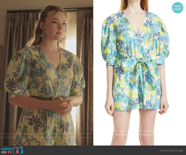 Becky Floral Belted Romper by Tanya Taylor worn by Kirby Anders (Maddison Brown) on Dynasty