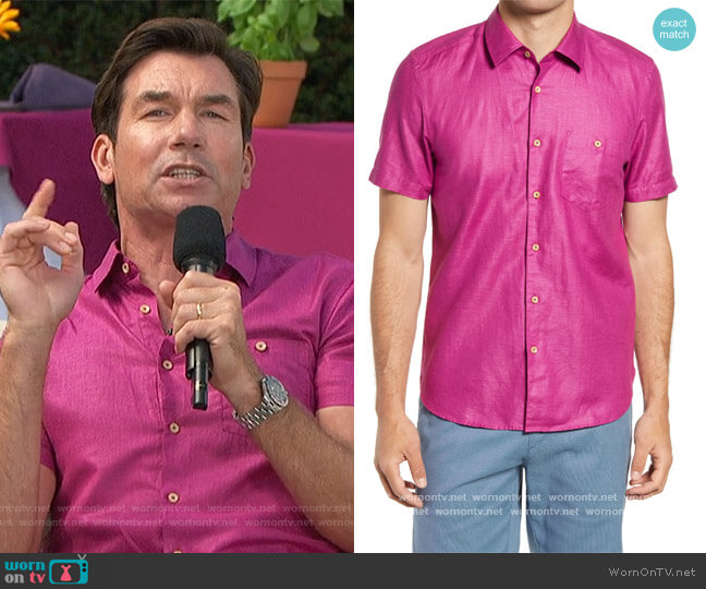 Civiche Linen & Cotton Button-Up Shirt by Ted Baker