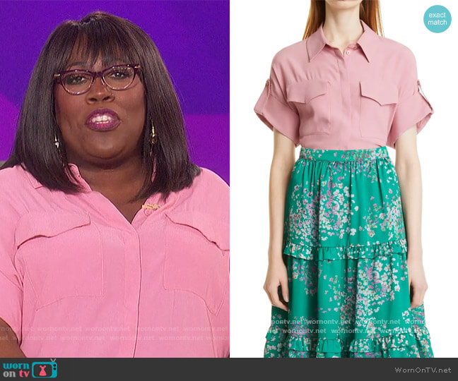 Pocket Detail Button-Up Shirt by Ted Baker worn by Sheryl Underwood  on The Talk