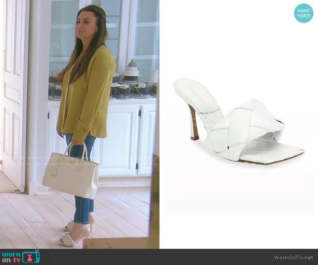 BV Lido Slide Sandal by Bottega Veneta worn by Kyle Richards  on The Real Housewives of Beverly Hills