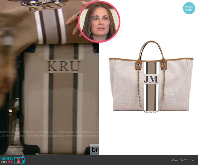 The Lily Canvas Weekend Jumbo Bag by Lily and Bean worn by Kyle Richards  on The Real Housewives of Beverly Hills