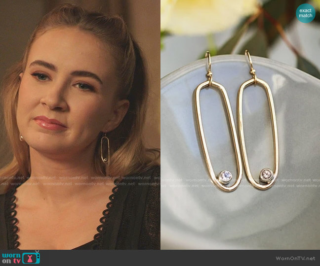 Oval Morganite Earrings - Gold and Argentium by The statement House worn by Amanda Carrington (Eliza Bennett) on Dynasty