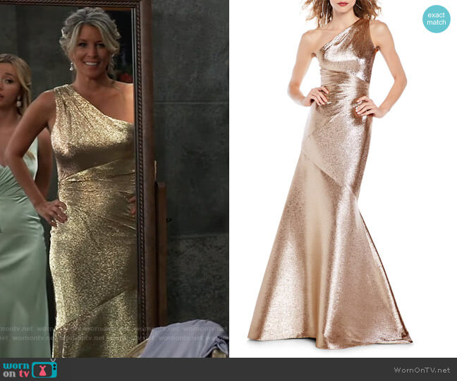 One-Shoulder Metallic Mermaid Gown by Theia worn by Carly Corinthos (Laura Wright) on General Hospital