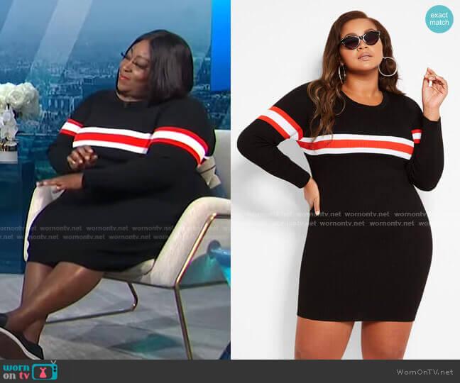 Thick Stripe Sweater Dress by Ashley Stewart worn by Loni Love  on E! News