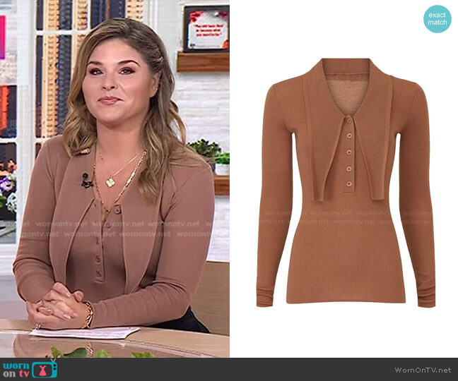 Feather Weight Ribbed Allonge Collar Sweater by Tibi worn by Jenna Bush Hager  on Today