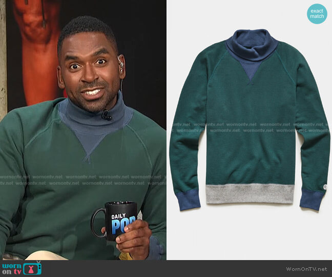 Colorblock Turtleneck Sweatshirt by Todd Snyder + Champion worn by Justin Sylvester  on E! News