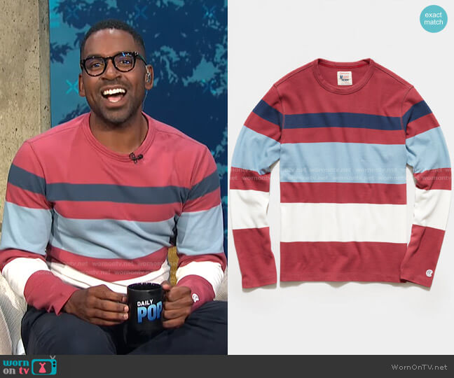 Long Sleeve Engineered Stripe Tee by Todd Snyder + Champion worn by Justin Sylvester  on E! News