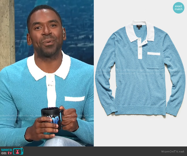 Long Sleeve Boucle Polo by Todd Snyder worn by Justin Sylvester  on E! News