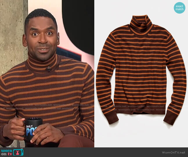 Striped Ribbed Turtleneck Sweater by Todd Snyder worn by Justin Sylvester  on E! News