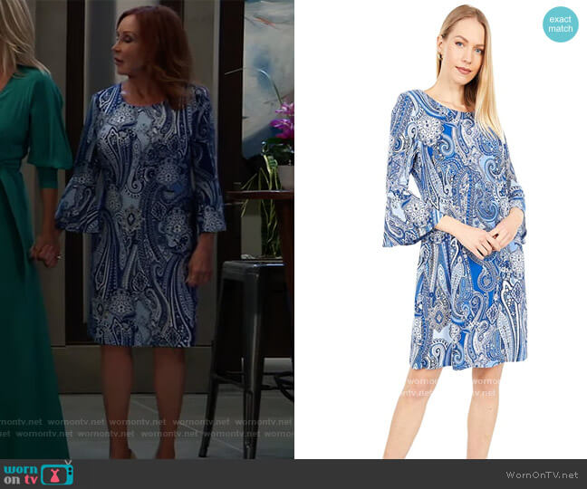 Paisley Jersey Bell Sleeve Dress by Tommy Hilfiger worn by Bobbie Spencer (Jackie Zeman) on General Hospital