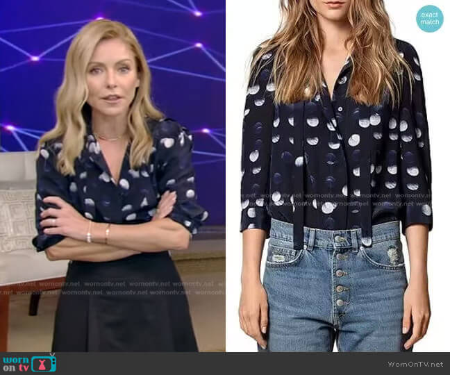 Touch Polka-Dot-Printed Silk Tunic by Zadig & Voltaire worn by Kelly Ripa  on Live with Kelly & Ryan