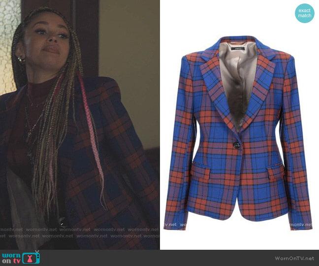 Plaid Blazer by True Tradition worn by Toni Topaz (Vanessa Morgan) on Riverdale
