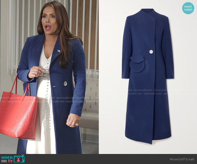 Natasha Wool-Felt Coat by Usisi Sister worn by Cristal Jennings (Daniella Alonso) on Dynasty