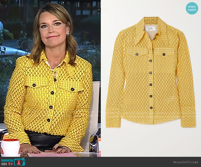 Perforated Cotton-Blend Shirt by Victoria Victoria Beckham worn by Savannah Guthrie  on Today