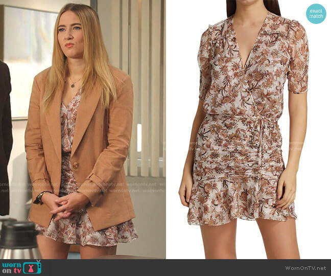 Dakota Ruched Floral Silk Dress by Veronica Beard worn by Amanda Carrington (Eliza Bennett) on Dynasty