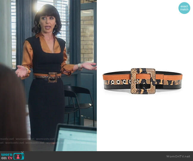 Risa Belt by Veronica Beard worn by Kathleen Gale (Constance Zimmer) on Good Trouble
