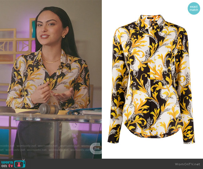 Baroque-print Silk Shirt by Versace worn by Veronica Lodge (Camila Mendes) on Riverdale
