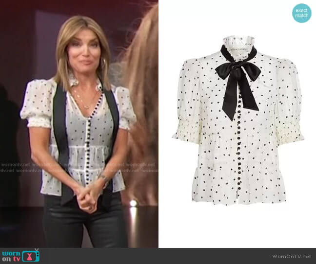 Vicky Tie Neck Blouse by Alice + Olivia worn by Kit Hoover  on Access Hollywood