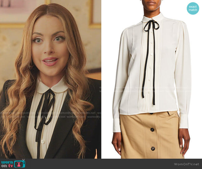 Contrast Ties Pleated Front Silk Shirt by Victoria Beckham worn by Fallon Carrington (Elizabeth Gillies) on Dynasty