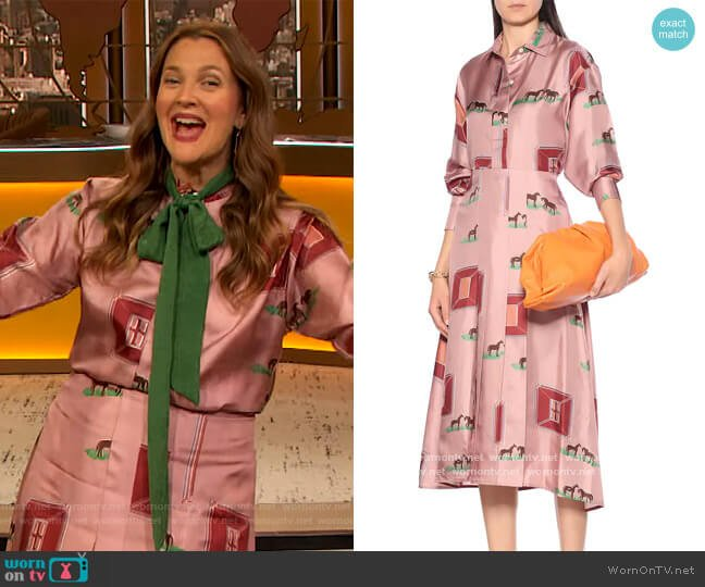 Printed silk shirt by Victoria Beckham worn by Drew Barrymore  on The Drew Barrymore Show