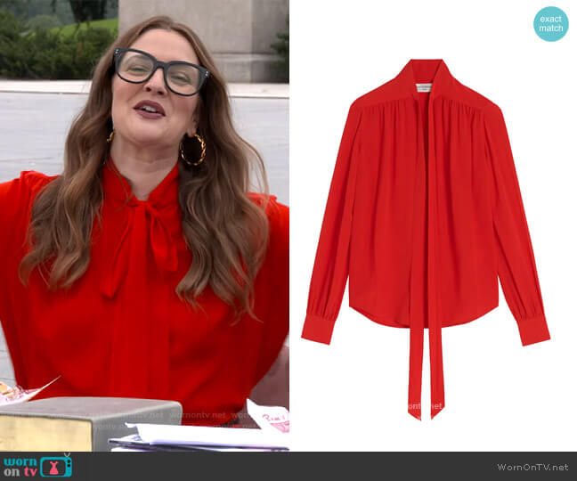 Tie-Neck Silk Blouse by Victoria Beckham worn by Drew Barrymore  on The Drew Barrymore Show
