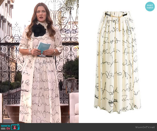 Signature Print Belted Midi Skirt by Victoria Beckham worn by Drew Barrymore  on The Drew Barrymore Show