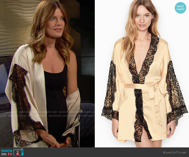 Victorias Secret Kimono with Lace worn by Phyllis Summers (Michelle Stafford) on The Young & the Restless