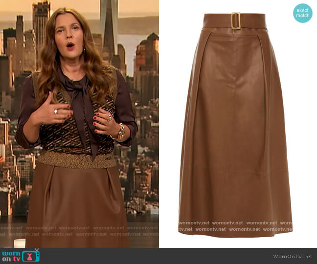 Pleated buckle-embellished leather midi skirt by Vince worn by Drew Barrymore  on The Drew Barrymore Show