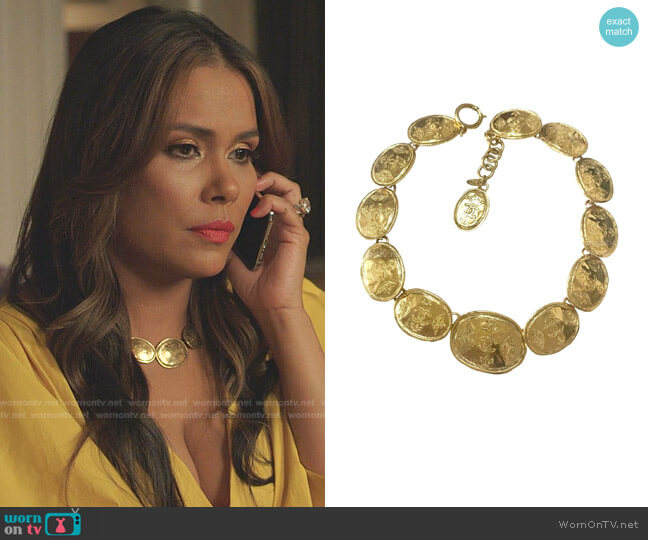 Vintage Regal Crown Logo Coin Medallion Choker Necklace by Chanel worn by Cristal Jennings (Daniella Alonso) on Dynasty